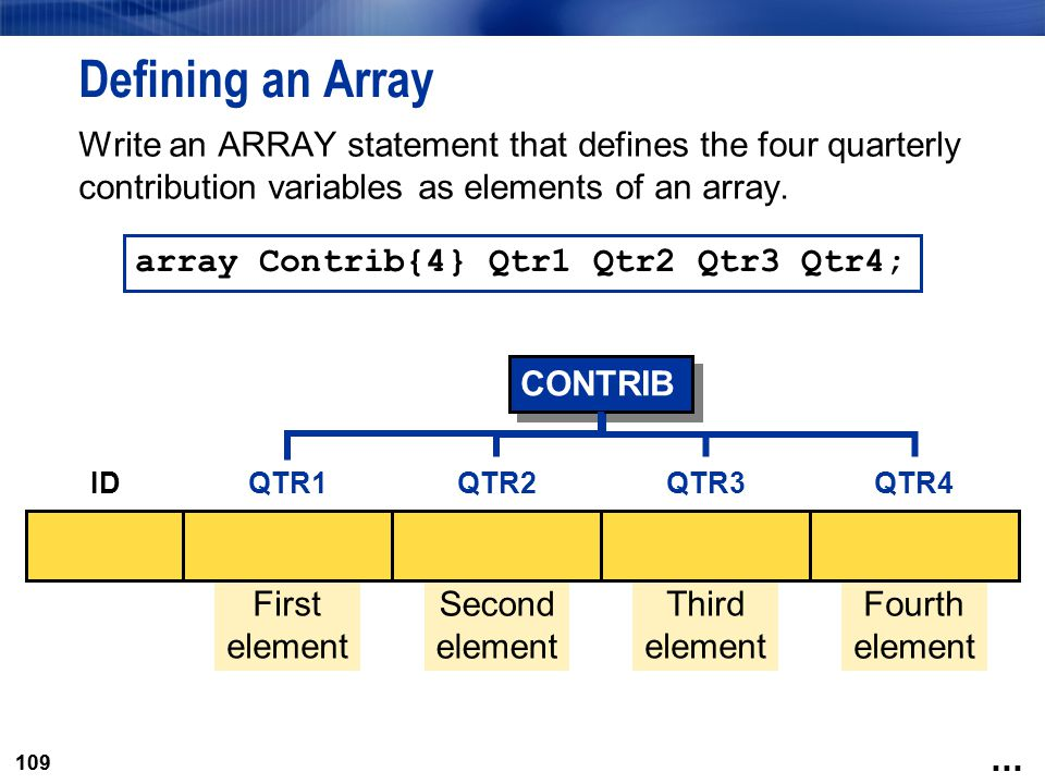 109 Defining an Array Write an ARRAY statement that defines the four quarterly contribution variables as elements of an array. array Contrib{4} Qtr1 Q