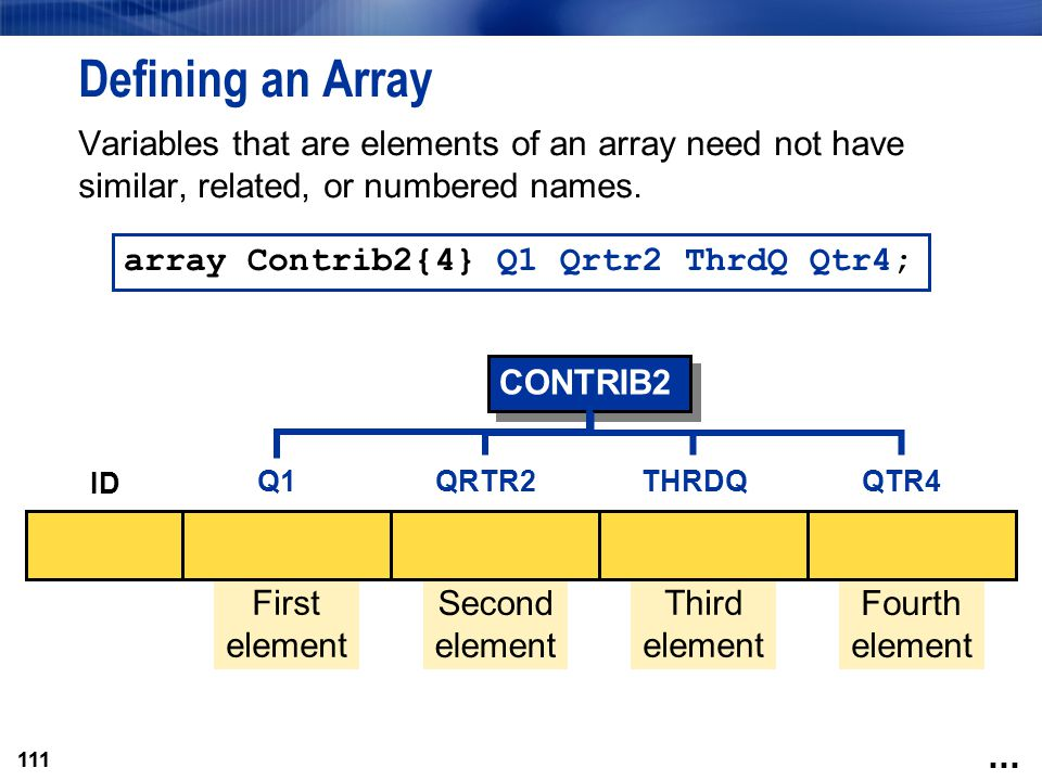111 Defining an Array Variables that are elements of an array need not have similar, related, or numbered names. array Contrib2{4} Q1 Qrtr2 ThrdQ Qtr4
