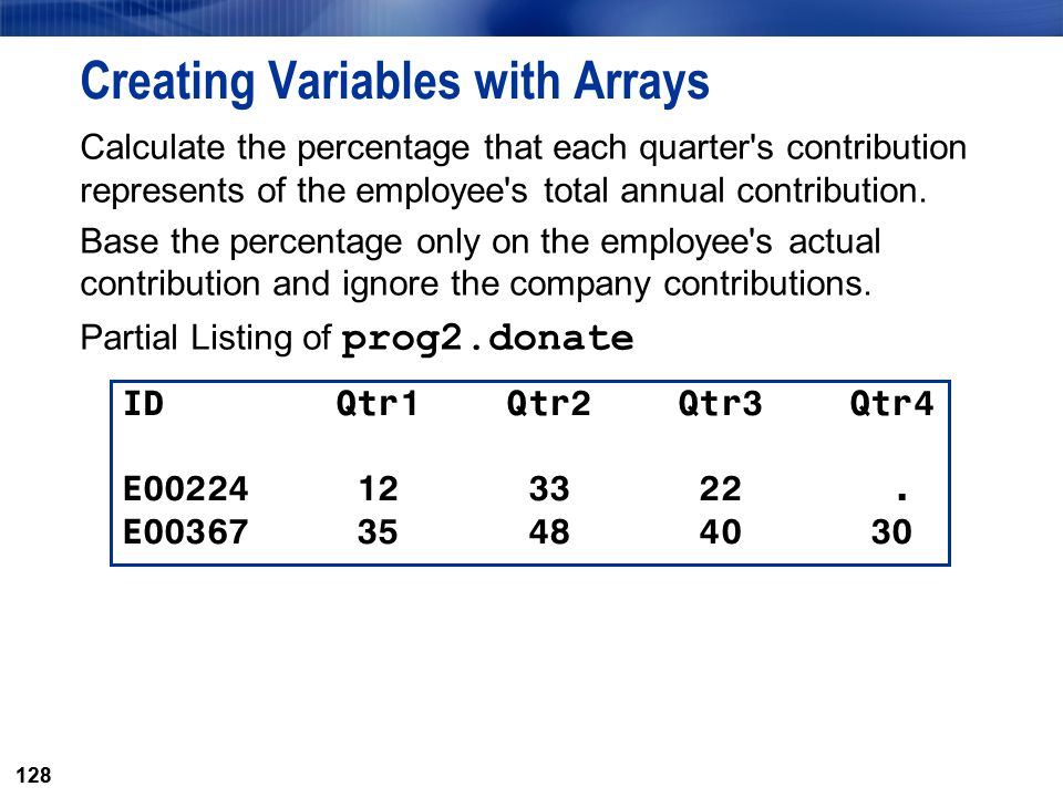 128 Creating Variables with Arrays Calculate the percentage that each quarter's contribution represents of the employee's total annual contribution. B