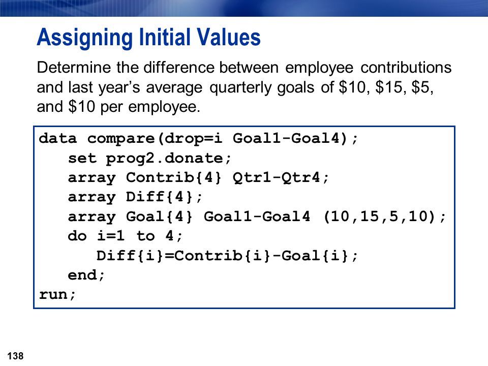 138 Assigning Initial Values Determine the difference between employee contributions and last year's average quarterly goals of $10, $15, $5, and $10