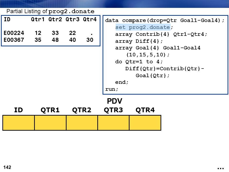 142 data compare(drop=Qtr Goal1-Goal4); set prog2.donate; array Contrib{4} Qtr1-Qtr4; array Diff{4}; array Goal{4} Goal1-Goal4 (10,15,5,10); do Qtr=1
