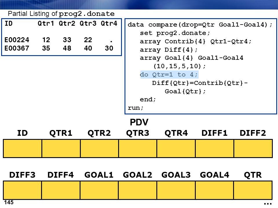 145 data compare(drop=Qtr Goal1-Goal4); set prog2.donate; array Contrib{4} Qtr1-Qtr4; array Diff{4}; array Goal{4} Goal1-Goal4 (10,15,5,10); do Qtr=1