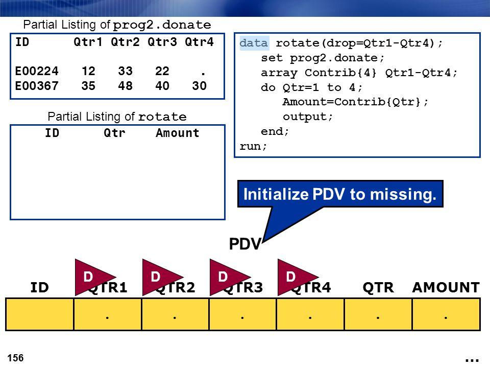 156 data rotate(drop=Qtr1-Qtr4); set prog2.donate; array Contrib{4} Qtr1-Qtr4; do Qtr=1 to 4; Amount=Contrib{Qtr}; output; end; run;...... IDQTR3QTR1Q