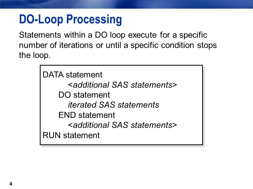 55 The DO WHILE Statement The DO WHILE statement executes statements in a DO loop while a condition is true.
