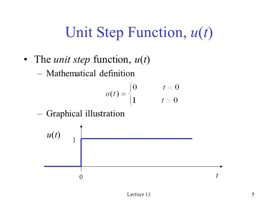 Lecture 135 Unit Step Function, u(t) The unit step function, u(t) –Mathematical definition –Graphical illustration 1 t 0 u(t)u(t)