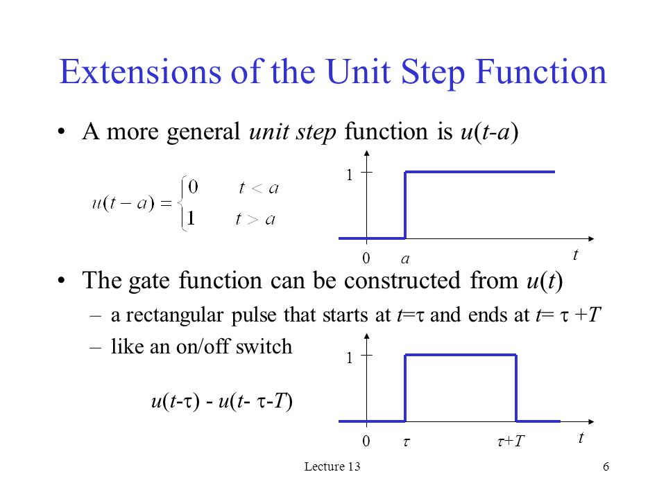 Lecture 136 Extensions of the Unit Step Function A more general unit step function is u(t-a) The gate function can be constructed from u(t) –a rectangular pulse that starts at t=  and ends at t=  +T –like an on/off switch 1 t 0a 1 t 0  +T u(t-  ) - u(t-  -T)