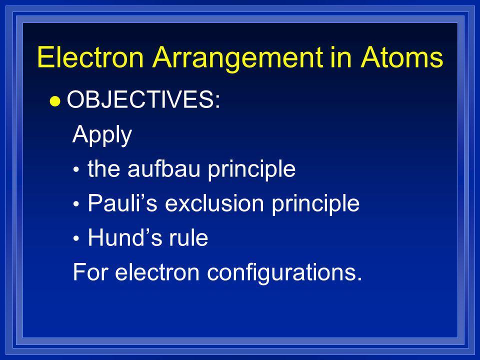 Electron Arrangement in Atoms l OBJECTIVES: Apply the aufbau principle Pauli's exclusion principle Hund's rule For electron configurations.