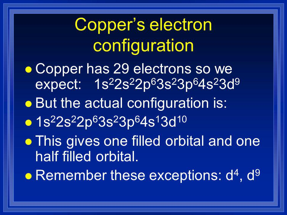 Copper's electron configuration l Copper has 29 electrons so we expect: 1s 2 2s 2 2p 6 3s 2 3p 6 4s 2 3d 9 l But the actual configuration is: l 1s 2 2s 2 2p 6 3s 2 3p 6 4s 1 3d 10 l This gives one filled orbital and one half filled orbital.
