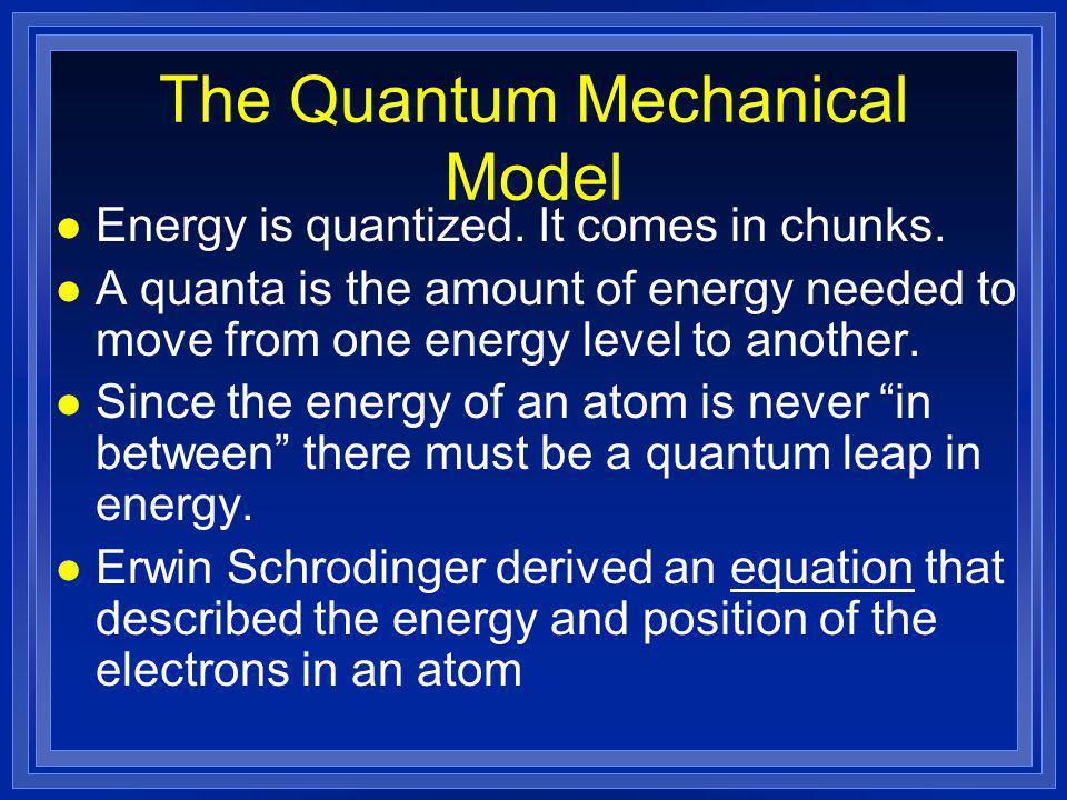 The Quantum Mechanical Model l Energy is quantized.