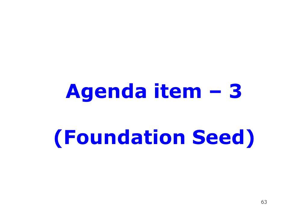 Agenda item – 3 (Foundation Seed) 63
