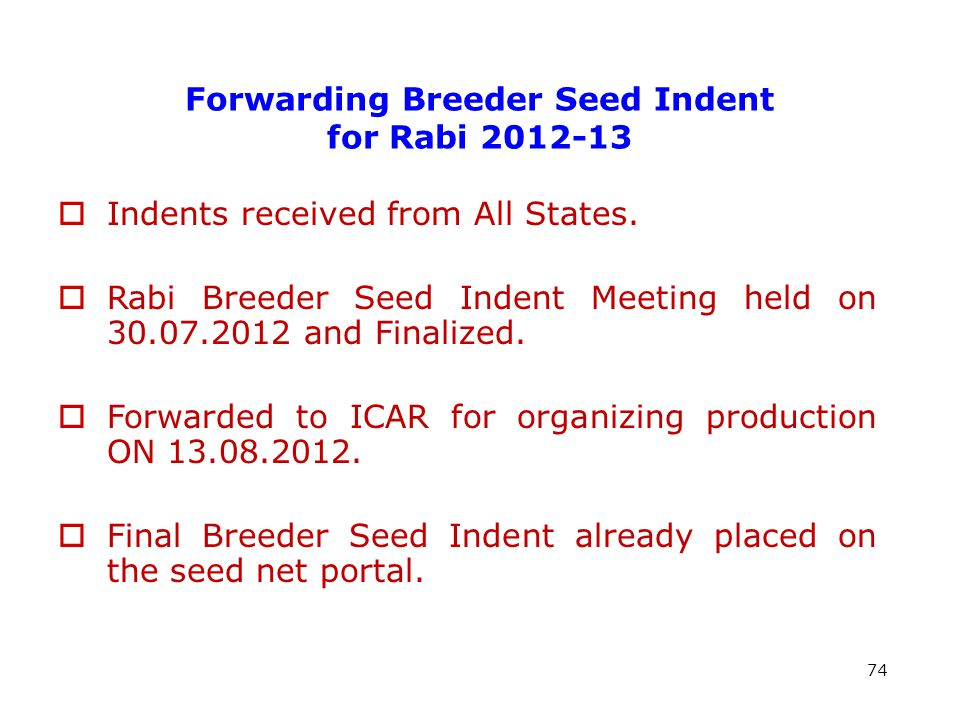 Forwarding Breeder Seed Indent for Rabi 2012-13 74  Indents received from All States.
