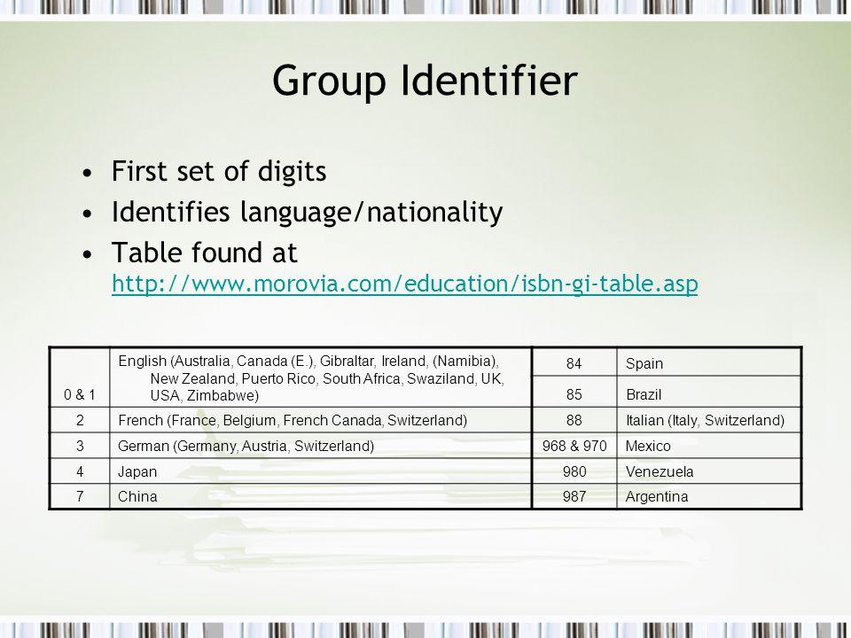 Group Identifier First set of digits Identifies language/nationality Table found at http://www.morovia.com/education/isbn-gi-table.asp http://www.morovia.com/education/isbn-gi-table.asp 0 & 1 English (Australia, Canada (E.), Gibraltar, Ireland, (Namibia), New Zealand, Puerto Rico, South Africa, Swaziland, UK, USA, Zimbabwe) 84Spain 85Brazil 2French (France, Belgium, French Canada, Switzerland)88Italian (Italy, Switzerland) 3German (Germany, Austria, Switzerland)968 & 970Mexico 4Japan980Venezuela 7China987Argentina