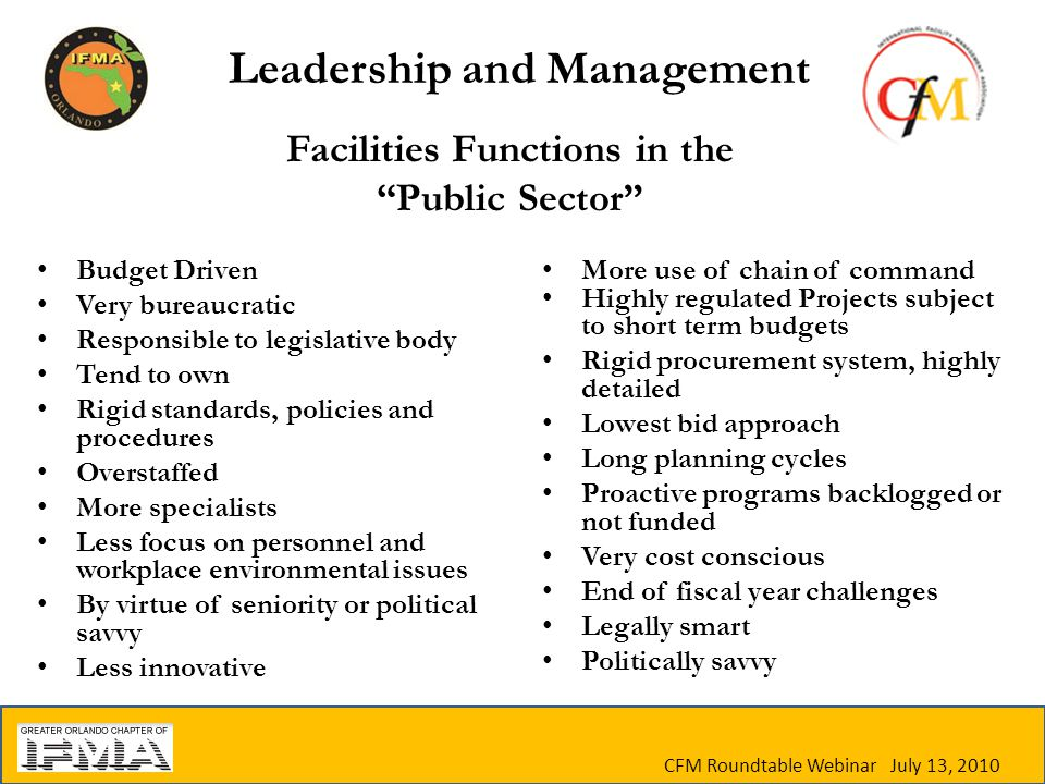 CFM Roundtable Webinar July 13, 2010 Facilities Functions in the Public Sector Budget Driven Very bureaucratic Responsible to legislative body Tend to own Rigid standards, policies and procedures Overstaffed More specialists Less focus on personnel and workplace environmental issues By virtue of seniority or political savvy Less innovative More use of chain of command Highly regulated Projects subject to short term budgets Rigid procurement system, highly detailed Lowest bid approach Long planning cycles Proactive programs backlogged or not funded Very cost conscious End of fiscal year challenges Legally smart Politically savvy Leadership and Management