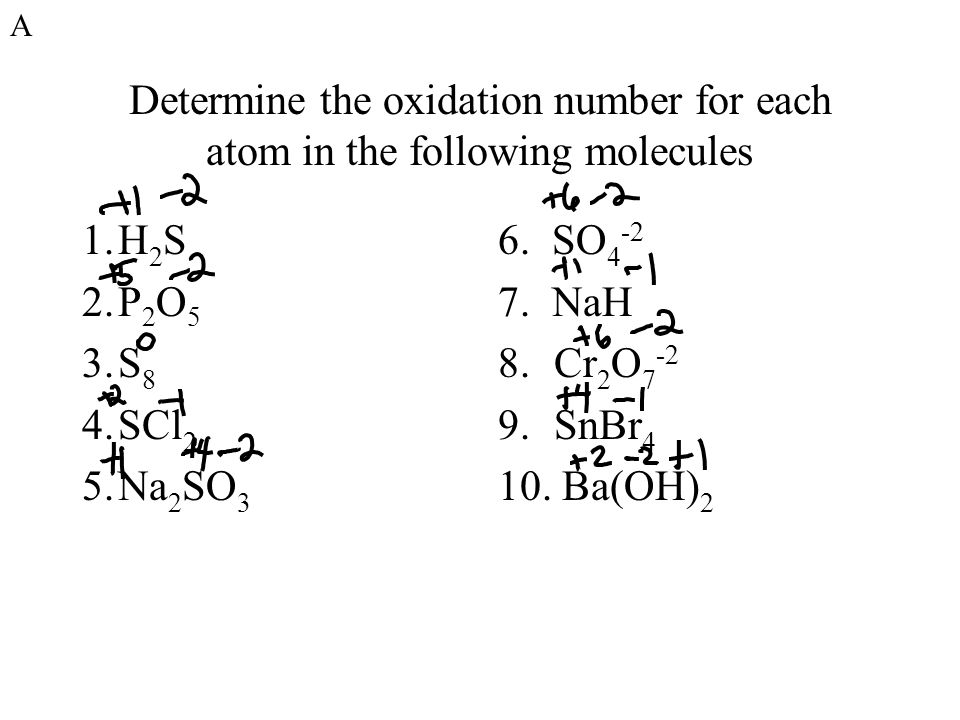 Determine the oxidation number for each atom in the following molecules 1.H 2 S 2.P 2 O 5 3.S 8 4.SCl 2 5.Na 2 SO 3 6.