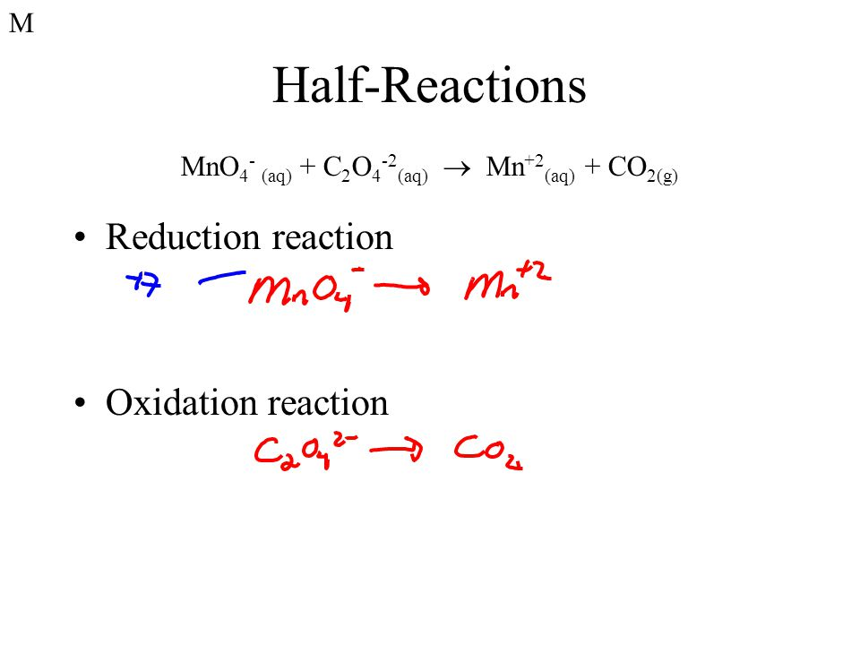 Half-Reactions Reduction reaction Oxidation reaction MnO 4 - (aq) + C 2 O 4 -2 (aq)  Mn +2 (aq) + CO 2(g) M