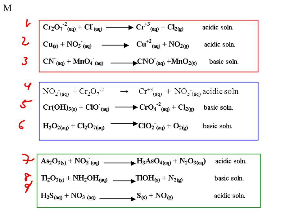 M NO 2 - (aq) + Cr 2 O 7 -2 → Cr +3 (aq) + NO 3 - (aq) acidic soln