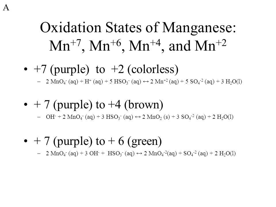 Oxidation States of Manganese: Mn +7, Mn +6, Mn +4, and Mn +2 +7 (purple) to +2 (colorless) –2 MnO 4 - (aq) + H + (aq) + 5 HSO 3 - (aq) ↔ 2 Mn +2 (aq) + 5 SO 4 -2 (aq) + 3 H 2 O(l) + 7 (purple) to +4 (brown) –OH - + 2 MnO 4 - (aq) + 3 HSO 3 - (aq) ↔ 2 MnO 2 (s) + 3 SO 4 -2 (aq) + 2 H 2 O(l) + 7 (purple) to + 6 (green) –2 MnO 4 - (aq) + 3 OH - + HSO 3 - (aq) ↔ 2 MnO 4 -2 (aq) + SO 4 -2 (aq) + 2 H 2 O(l) A