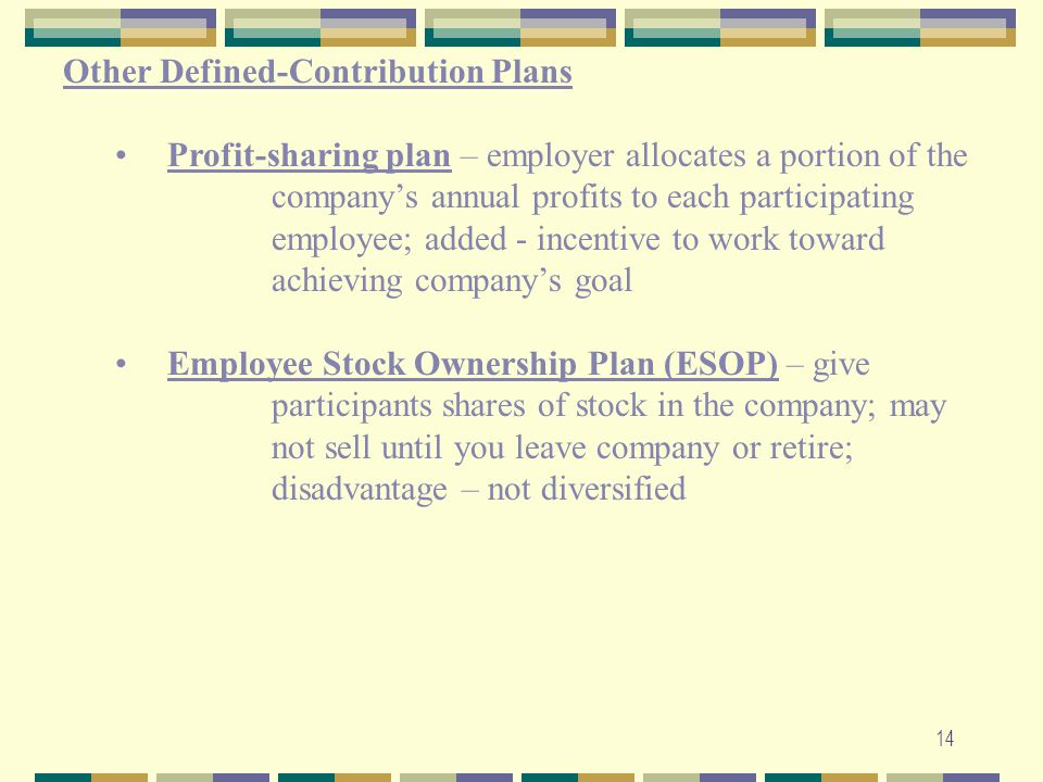 14 Other Defined-Contribution Plans Profit-sharing plan – employer allocates a portion of the company's annual profits to each participating employee;