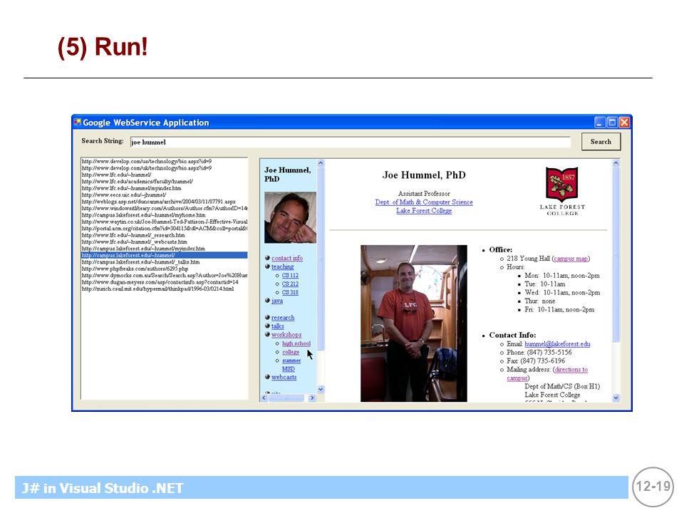 12-19 MicrosoftIntroducing CS using.NETJ# in Visual Studio.NET (5) Run!