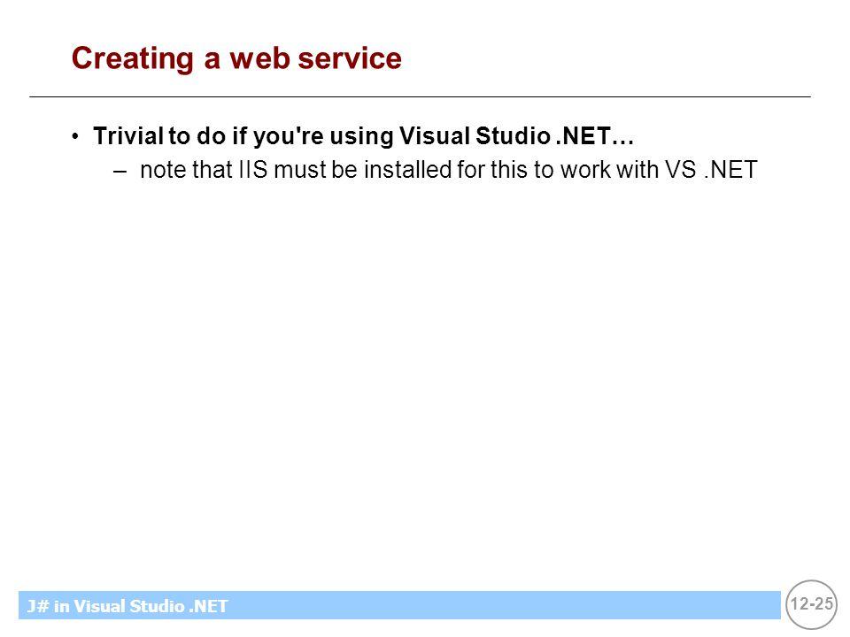 12-25 MicrosoftIntroducing CS using.NETJ# in Visual Studio.NET Creating a web service Trivial to do if you're using Visual Studio.NET… –note that IIS