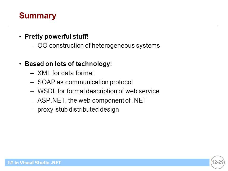 12-29 MicrosoftIntroducing CS using.NETJ# in Visual Studio.NET Summary Pretty powerful stuff! –OO construction of heterogeneous systems Based on lots
