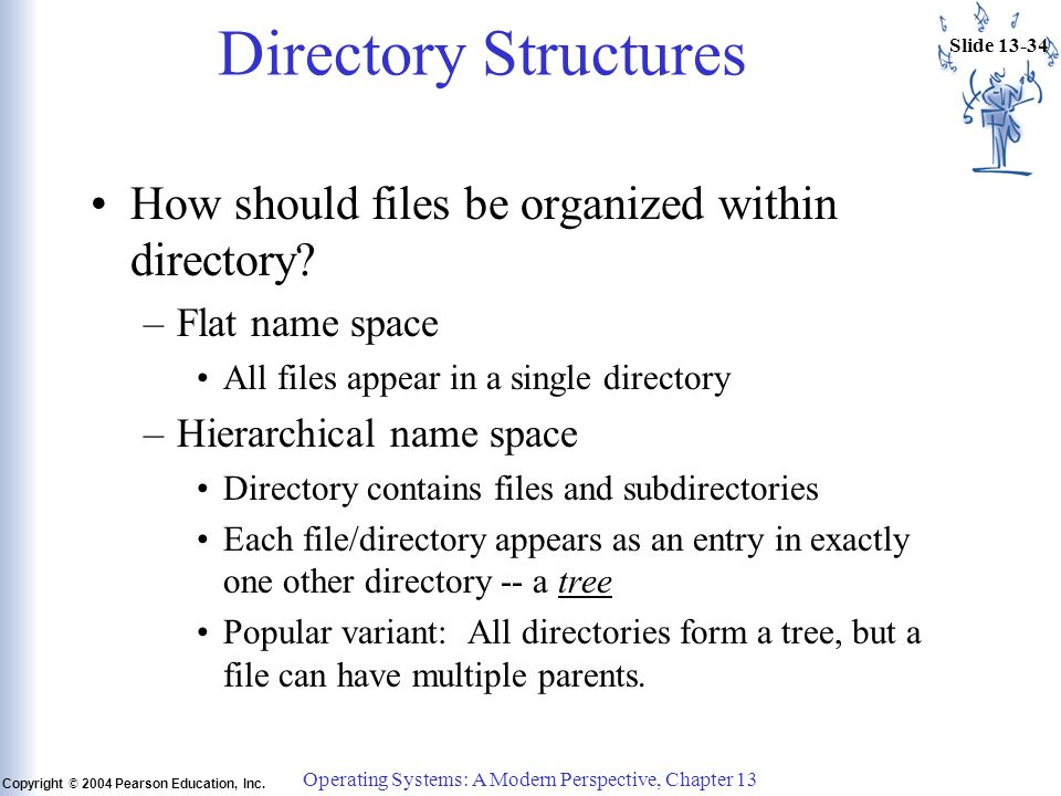 Slide 13-34 Copyright © 2004 Pearson Education, Inc. Operating Systems: A Modern Perspective, Chapter 13 Directory Structures How should files be orga