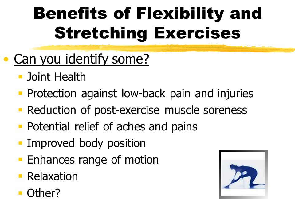 Benefits of Flexibility and Stretching Exercises Can you identify some?  Joint Health  Protection against low-back pain and injuries  Reduction of