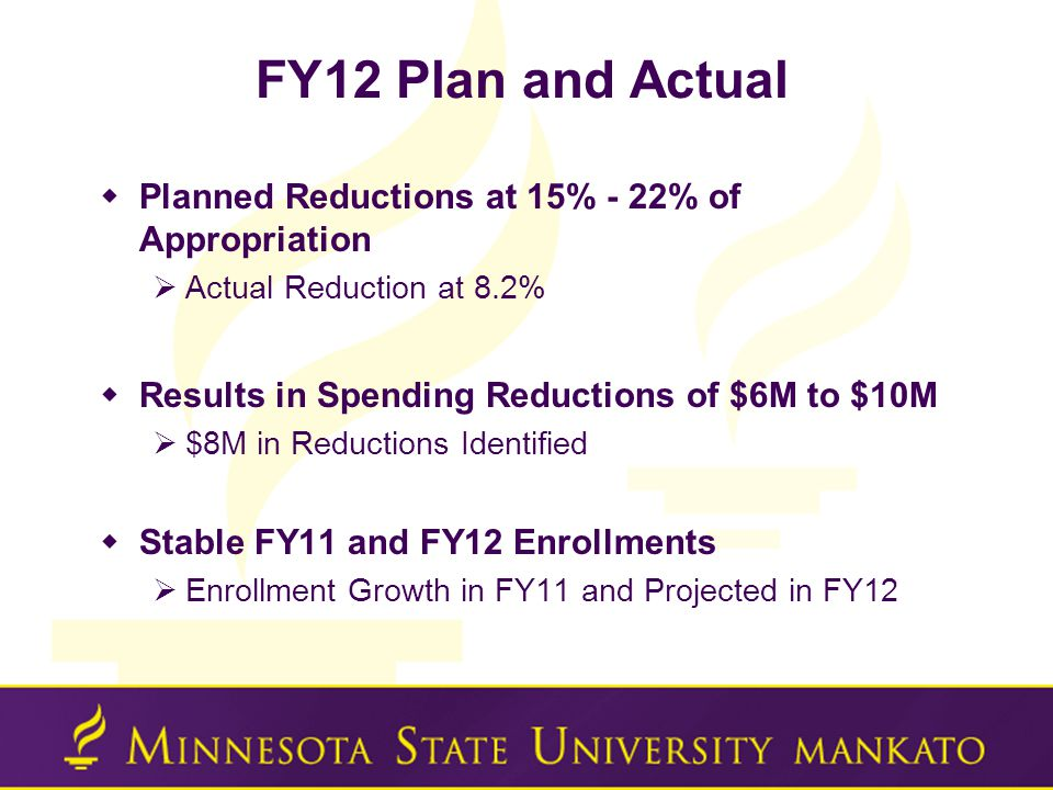 FY12 Plan and Actual  Planned Reductions at 15% - 22% of Appropriation  Actual Reduction at 8.2%  Results in Spending Reductions of $6M to $10M  $8M in Reductions Identified  Stable FY11 and FY12 Enrollments  Enrollment Growth in FY11 and Projected in FY12