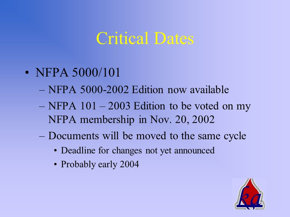 Critical Dates International Codes –2003 Editions will be available in February 2003 –Deadline for proposed changes – March 24, 2003 –Two eighteen month cycles to development of 2006 Edition –Possibility of off-site voting