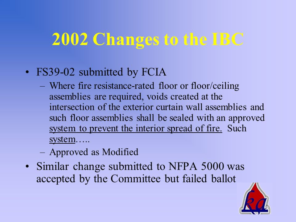 IBC - 2000 712.2 Exterior curtain wall/floor construction –Such material shall be securely installed and capable of preventing the passage of flame and hot gases sufficient to ignite cotton waste where subjected to ASTME E119 time-temperature fire conditions under a minimum positive pressure differential of 0.01 inch of water column for the time period at least equal to the fire- resistance rating of the floor assembly
