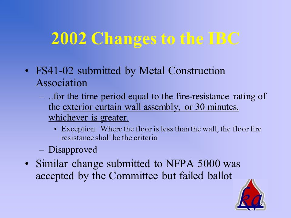 2002 Changes to the IBC FS40-02 submitted by GICC –Add a new sentence to read as follows –Height and fire-resistance requirements for curtain wall spandrels shall comply with Section 704.9.