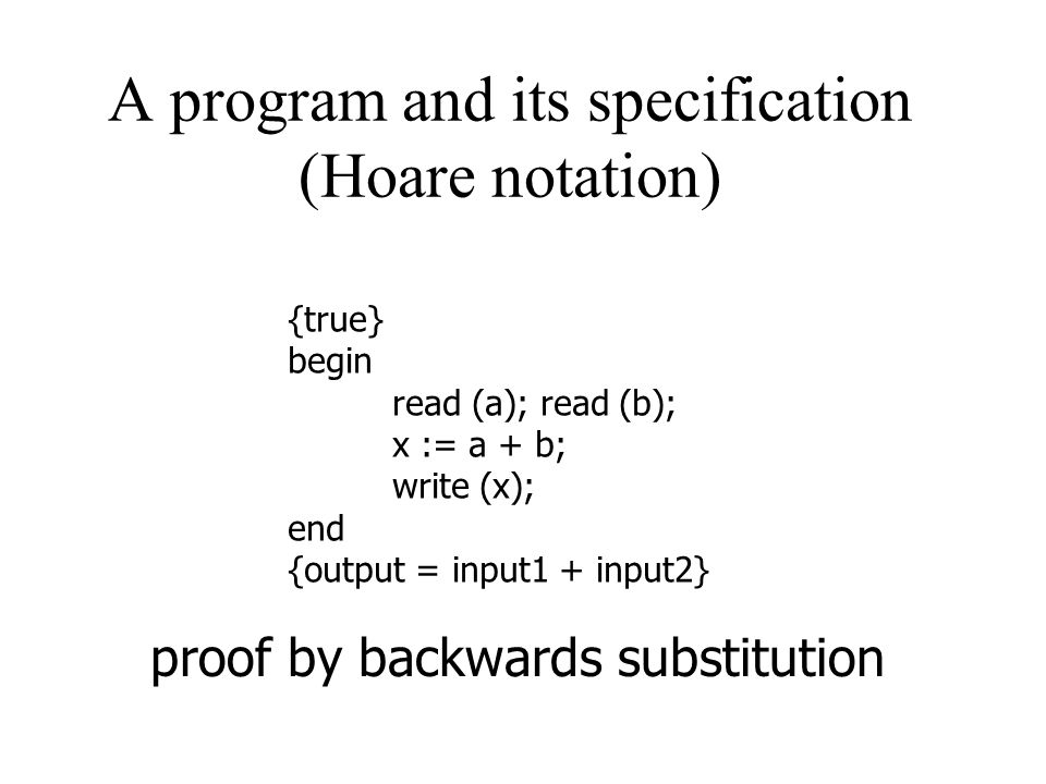 A program and its specification (Hoare notation) {true} begin read (a); read (b); x := a + b; write (x); end {output = input1 + input2} proof by backw