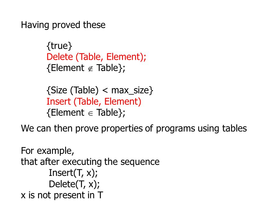 {true} Delete (Table, Element); {Element  Table}; {Size (Table) < max_size} Insert (Table, Element) {Element  Table}; Having proved these We can then prove properties of programs using tables For example, that after executing the sequence Insert(T, x); Delete(T, x); x is not present in T