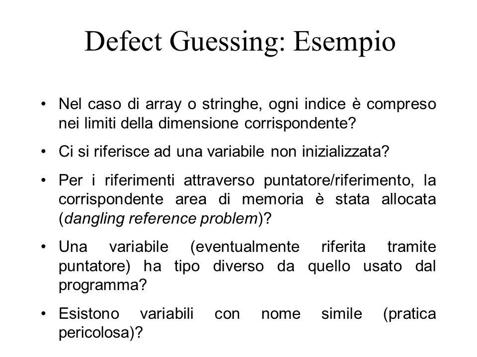 Defect Guessing: Esempio Nel caso di array o stringhe, ogni indice è compreso nei limiti della dimensione corrispondente? Ci si riferisce ad una varia