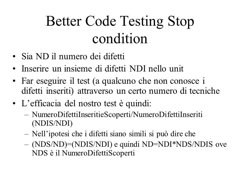 Better Code Testing Stop condition Sia ND il numero dei difetti Inserire un insieme di difetti NDI nello unit Far eseguire il test (a qualcuno che non conosce i difetti inseriti) attraverso un certo numero di tecniche L'efficacia del nostro test è quindi: –NumeroDifettiInseritieScoperti/NumeroDifettiInseriti (NDIS/NDI) –Nell'ipotesi che i difetti siano simili si può dire che –(NDS/ND)=(NDIS/NDI) e quindi ND=NDI*NDS/NDIS ove NDS è il NumeroDifettiScoperti