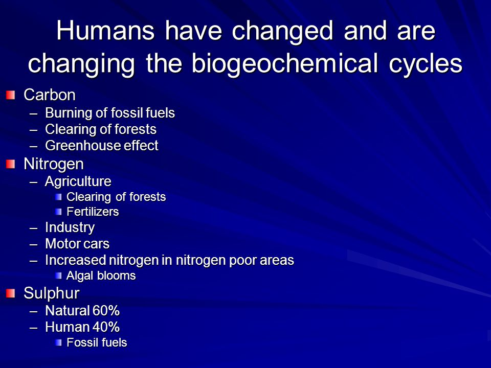 Humans have changed and are changing the biogeochemical cycles Carbon –Burning of fossil fuels –Clearing of forests –Greenhouse effect Nitrogen –Agriculture Clearing of forests Fertilizers –Industry –Motor cars –Increased nitrogen in nitrogen poor areas Algal blooms Sulphur –Natural 60% –Human 40% Fossil fuels