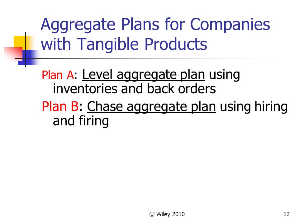 © Wiley 201012 Aggregate Plans for Companies with Tangible Products Plan A: Level aggregate plan using inventories and back orders Plan B: Chase aggregate plan using hiring and firing