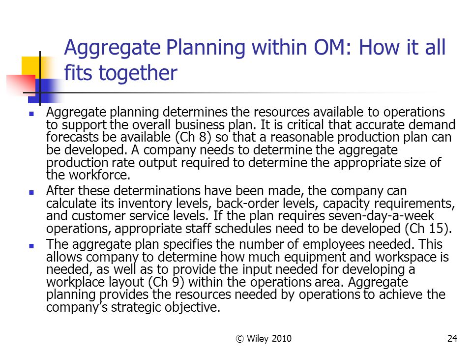 © Wiley 201024 Aggregate Planning within OM: How it all fits together Aggregate planning determines the resources available to operations to support the overall business plan.