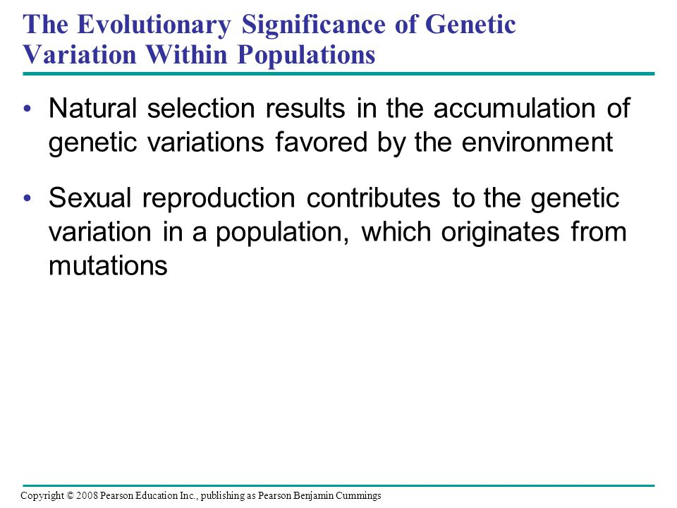 The Evolutionary Significance of Genetic Variation Within Populations Natural selection results in the accumulation of genetic variations favored by the environment Sexual reproduction contributes to the genetic variation in a population, which originates from mutations Copyright © 2008 Pearson Education Inc., publishing as Pearson Benjamin Cummings