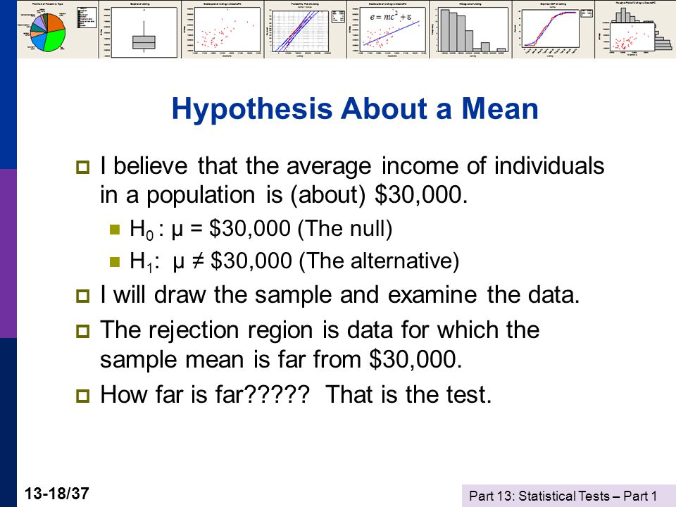 Part 13: Statistical Tests – Part 1 13-18/37 Hypothesis About a Mean  I believe that the average income of individuals in a population is (about) $30,000.
