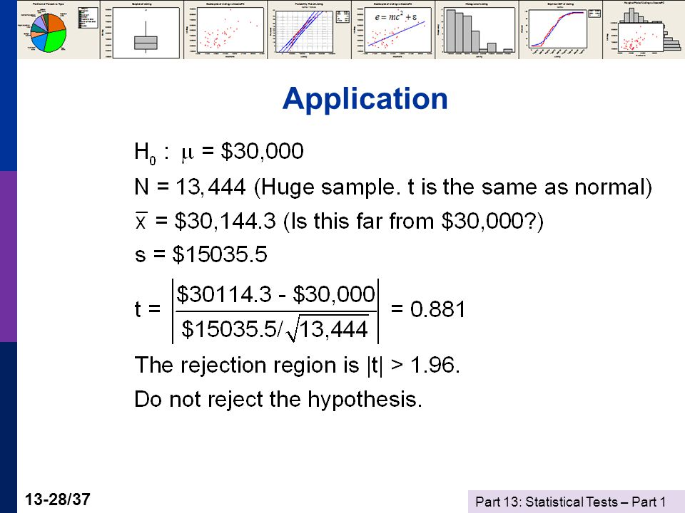 Part 13: Statistical Tests – Part 1 13-28/37 Application