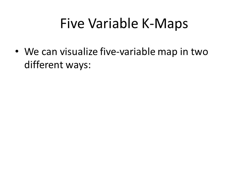 Five Variable K-Maps We can visualize five-variable map in two different ways: