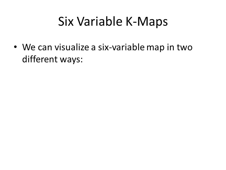 Six Variable K-Maps We can visualize a six-variable map in two different ways: