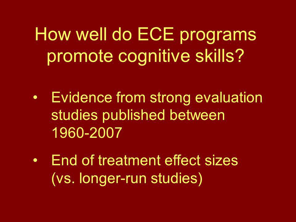 How well do ECE programs promote cognitive skills.