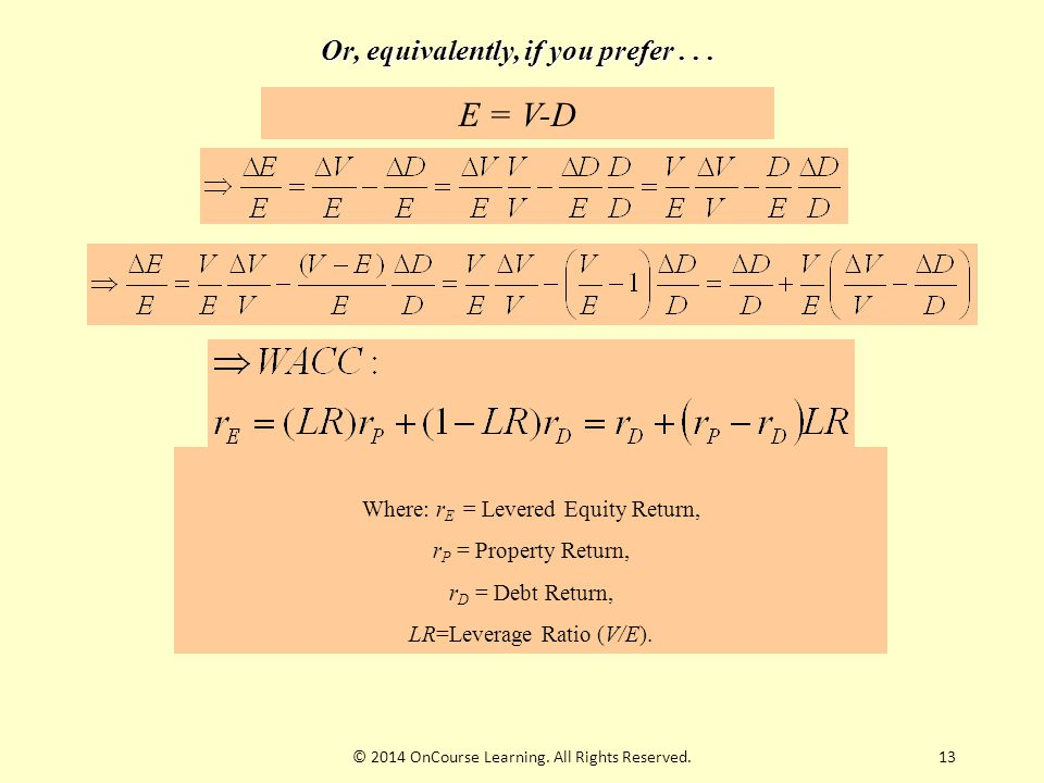 13 Or, equivalently, if you prefer... E = V-D Where: r E = Levered Equity Return, r P = Property Return, r D = Debt Return, LR=Leverage Ratio (V/E). ©
