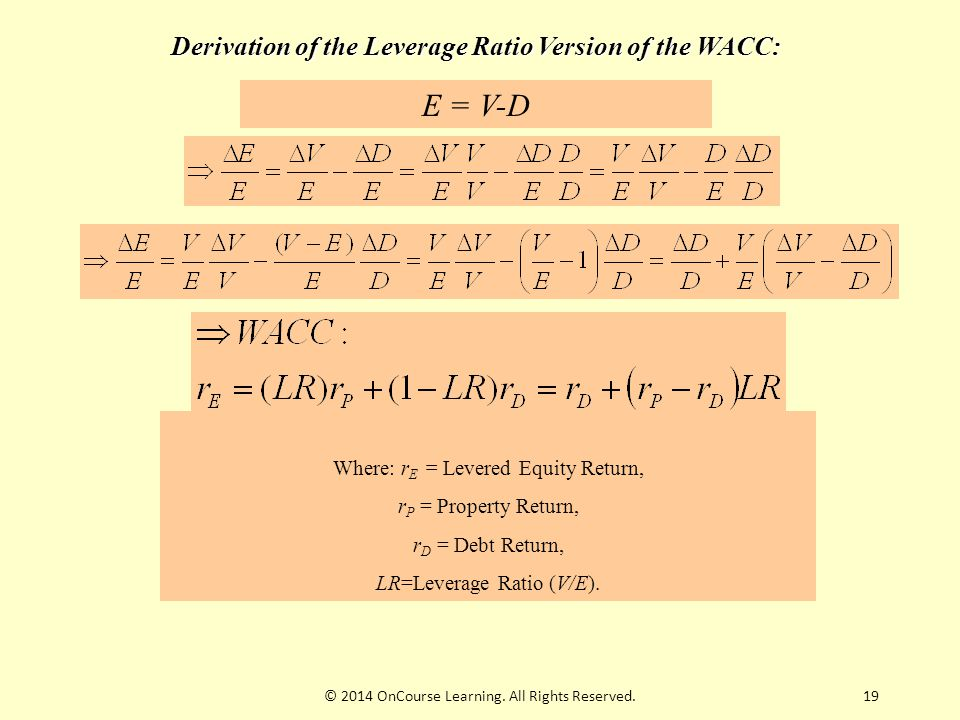 19 Derivation of the Leverage Ratio Version of the WACC: E = V-D Where: r E = Levered Equity Return, r P = Property Return, r D = Debt Return, LR=Leve