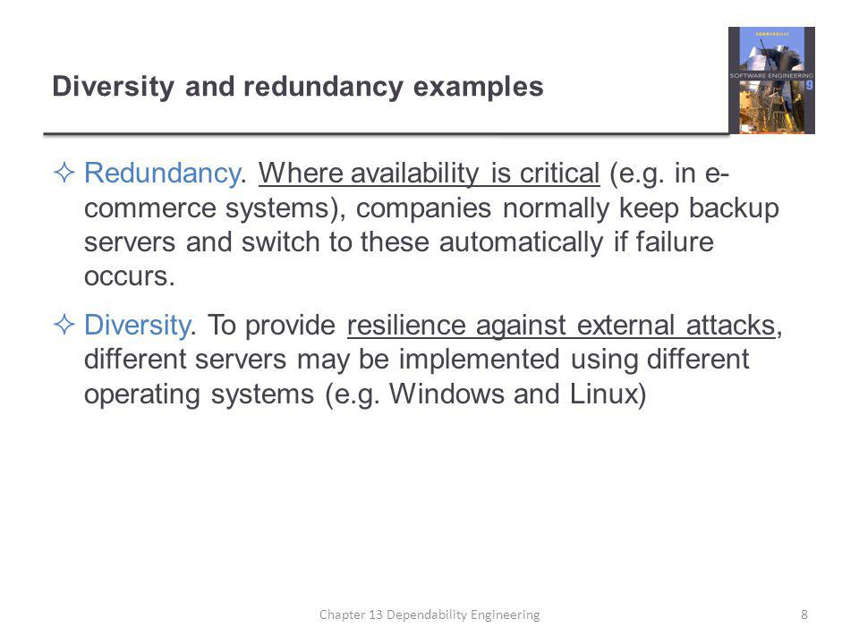 Diversity and redundancy examples  Redundancy. Where availability is critical (e.g. in e- commerce systems), companies normally keep backup servers a