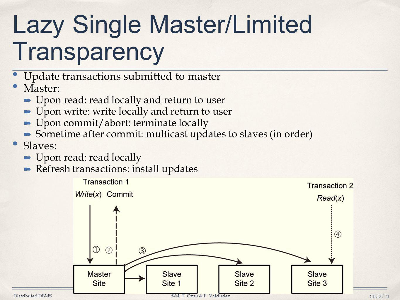 Distributed DBMS©M. T. Özsu & P. Valduriez Ch.13/24 Lazy Single Master/Limited Transparency Update transactions submitted to master Master: ➡ Upon rea