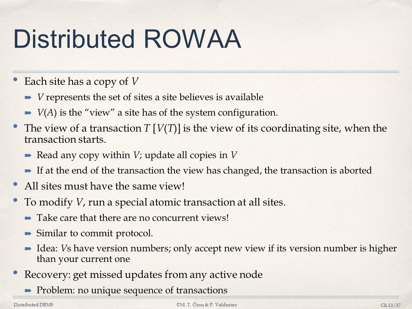 Distributed DBMS©M. T. Özsu & P. Valduriez Ch.13/37 Distributed ROWAA Each site has a copy of V ➡ V represents the set of sites a site believes is ava