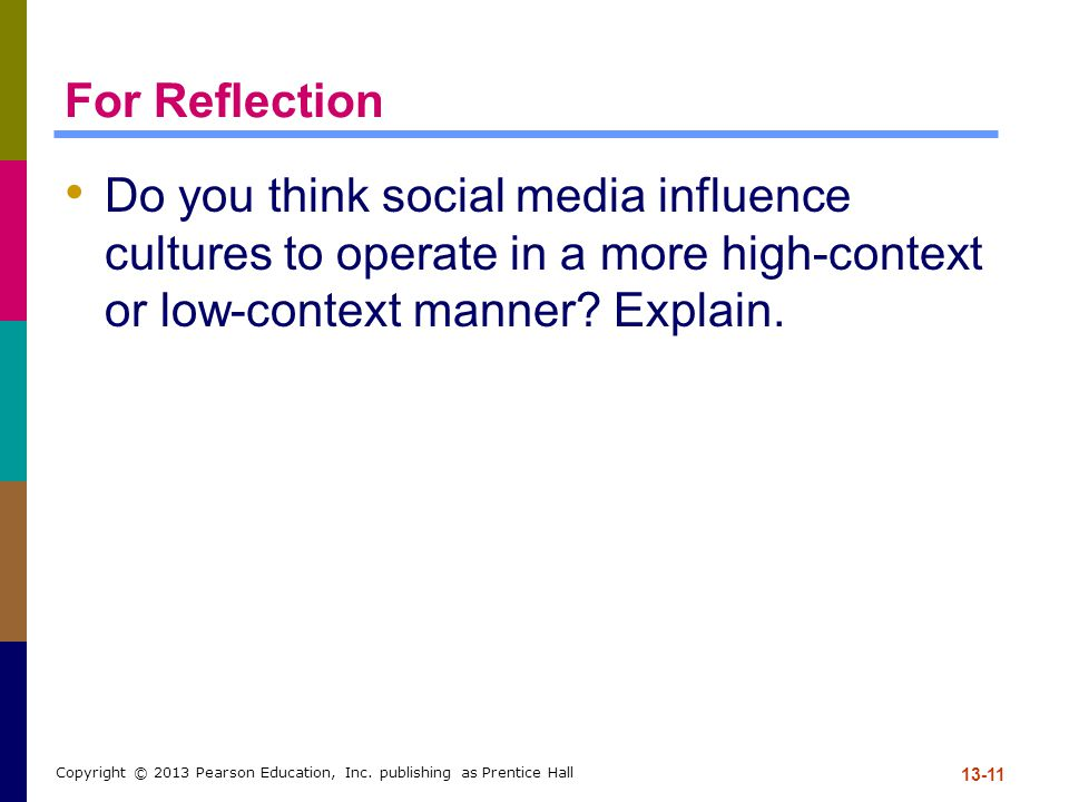 For Reflection Do you think social media influence cultures to operate in a more high-context or low-context manner.